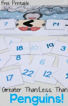 Greater than/Less than free penguin printable for kindergarten! Such a fun way to practice this math skill!
