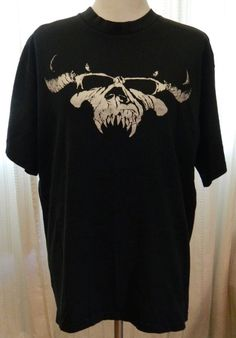Men's Danzig Skull Tshirt Biker 100% Cotton Black Size XL #AllsportMaxweight #GraphicTee
