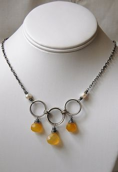 #Beads #Necklace #Dangle #Chain #Silver #Orange #Loop