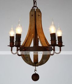 Vintage Amercian Rustic Wooden Pendant Wine Barrel Chandelier Lamp Liviing and Bedroom Lamp - GBP £ 205.89