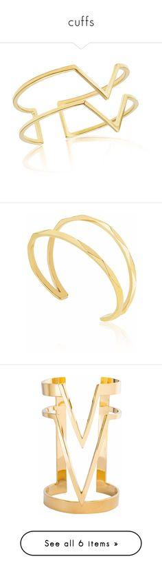 """""""cuffs"""" by jeniferkcarsrud ❤ liked on Polyvore featuring jewelry, bracelets, gold bangles, gold cuff bangle, gold jewellery, 18k gold jewelry, 18k gold jewellery, handcrafted jewelry, cuff bangle and holiday jewelry"""