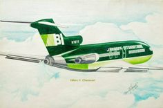 CHENEVERT'S HIGH WIDE AND HANDSOME BRANIFF 727 - A striking rendering of a Braniff International Boeing 727 from aviation artist Marc Y Chenevert, highlights the beautiful Green over Olive Green Geddis/Harper and George Two Tone Color Scheme of 1971.  The intensity of the two tone hues makes this a remarkable work. Marc completed this work on July 18, 1974.  Artwork: Artist Marc Y Chenevert, Copyright BFC Collection, Curator