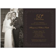 Elegant photo 50th wedding anniversary invitation. Classic ornamental golden 50th wedding anniversary party invitations. Fully customized. More at http://superdazzle.com