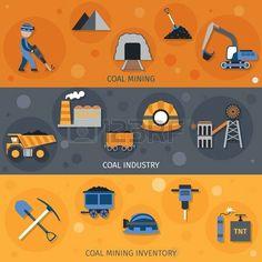 coal miner: Industria del carbón banners horizontales conjunto con elementos de inventario minero aislado ilustración vectorial Vectores