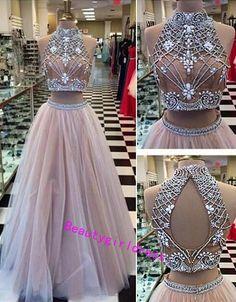 Bg350 Two Piece Prom Dress,Beading Prom Dresses,Grey Prom