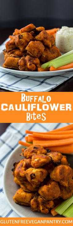 Buffalo Cauliflower Bites: Gluten-free & Vegan! 1 bowl, 7 ingredients and less than 30 minutes from start to finish. Need I say more? glutenfreeveganpantry.com