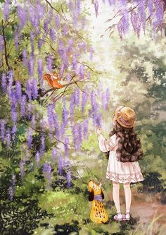 The purple wisteria flowers I met along the path. Being immersed in their color and scent, I stood under them for a long while. Forest Illustration, Illustration Girl, Adorable Petite Fille, Grafiti, Forest Girl, Korean Artist, Anime Art Girl, Cute Drawings, Cute Wallpapers