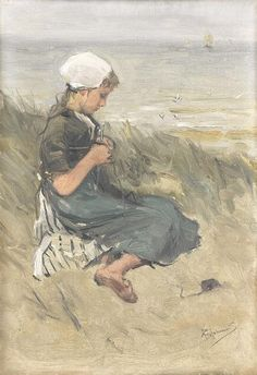 Bernard Blommers (Holland - Girl Knitting in the Dunes - - Rijksmuseum (Netherlands - Amsterdam) Canvas Paper, Canvas Art, Dune Art, Knitting Club, Knit Art, Johannes, Dutch Painters, Dutch Artists, The Dunes
