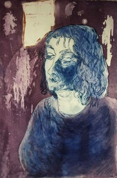Linda Crane - 1988 Etching, Portrait from a Lowry Generation no.3