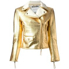 MOSCHINO biker jacket and other apparel, accessories and trends. Browse and shop 8 related looks. Riders Jacket, Moto Jacket, Moschino, Metallic Jacket, Metallic Leather, Real Leather, Designer Leather Jackets, New Wardrobe, Designing Women