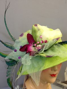 Lime Green Straw Women Hat, Medium Brim, Kentucky Derby Hat, Easter Hat