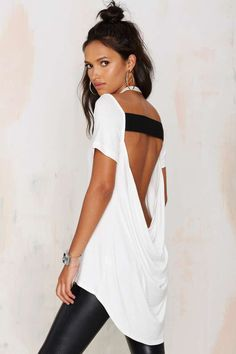 Nasty Gal Destroyer Cowl Back Tee - Lights Down Low | Lights Down Low | Tees | Basics | Tops