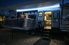 #Torque #toyhaulers light up the night with their exterior LED light package!  How many of you are fans of the red underbelly lighting? #HeartlandRVs