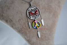 Volkswagen T 1 Bus Necklace - VW + Peace Sign + Feathers + Warm Enamel 925 Silver / Handmade Free Shipping and special gifts