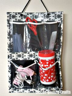 Get a shoe organizer from dollar store and make it pretty with duct tape...organize the kids stuff in my car (much better than rolling around on the floor)