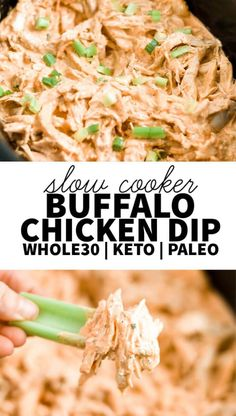 Crock pot healthy buffalo chicken dip is a clean eating creamy dip thats great for every party especially the Super Bowl! This recipe is paleo dairy free and approved. Its made with no cream cheese and homemade ranch spices. Throw everything Buffalo Chicken Dips, Pollo Buffalo, Paleo Appetizers, Appetizers For Party, Appetizer Recipes, Appetizer Crockpot, Party Dips, Dairy And Gluten Free Appetizers, Dairy Free Dips