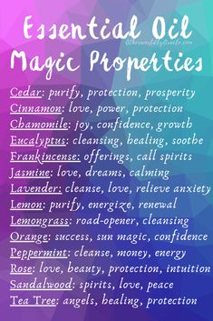 Essential Oil Magical Properties Chart and Magical Uses – Witchy Things – Home Recipe Essential Oils Guide, Essential Oil Uses, Young Living Essential Oils, Essential Oils For Chakras, Cinnamon Essential Oil, Creation Bougie, Wiccan Spell Book, Spell Books, Wiccan Witch