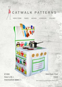 PDF Sewing Pattern: Kids Oven Chair Cover Sizes by CatwalkPatterns Sewing Patterns For Kids, Sewing Projects For Kids, Sewing For Kids, Diy For Kids, Gifts For Kids, Play Kitchen Diy, Toy Kitchen, Sewing Hacks, Sewing Crafts