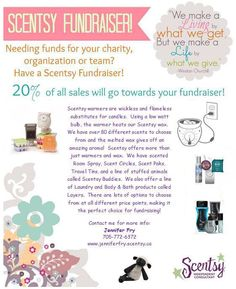 Are you raising funds for your team, organization, school or group? Are you looking for a different way to raise those funds? I'd love to help you with a Scentsy Fundraiser! Giving back to community is one of Scentsy's core values and I would like to donate to your organization. Contact me to find out more! www.jenniferfry.scentsy.ca
