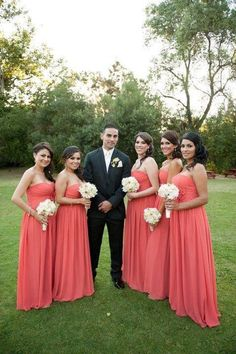 #coral bridesmaid dresses - look like they wouldn't be too hot. Love the color
