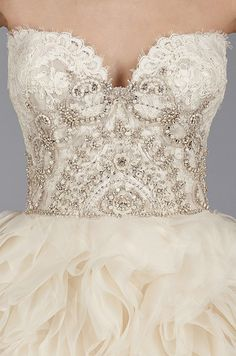 How stunning are those beaded details on this Lazaro ombre blush wedding dress.