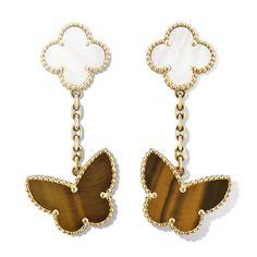 Van Cleef & Arpels Lucky Alhambra Earrings, 2 Motifs - Yellow Gold, Mother-of-Pearl, Tiger Eye Van Cleef And Arpels Jewelry, Van Cleef Arpels, White Earrings, Drop Earrings, Homemade Jewelry, High Jewelry, Round Diamonds, Jewels, Pendant