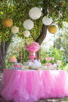 Host a beautiful pink princess birthday party. Love this dessert table idea.