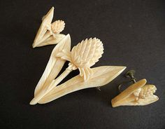 Exotic Vintage 40's Hawaiian Flower Carved Ivory Brooch Pin and Earrings Set via Etsy