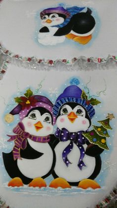 Pareja de pingüinos. Christmas Yard Art, Christmas Rock, Christmas Drawing, Christmas Paintings, Christmas Wishes, Christmas Colors, Christmas Crafts, Christmas Ornaments, Whimsy Stamps