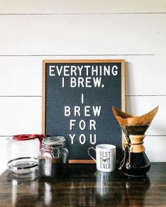 The most versatile and minimalist decoration for your home - felt letter board. Totally in love with and all of the fun boards they create! Inspirational and funny letter board quotes. The Letter Tribe Coffee Meme, Coffee Drinks, Coffee Coffee, Coffee Beans, Coffee Tables, Coffee Americano, Coffee Jelly, Morning Coffee, Bunn Coffee