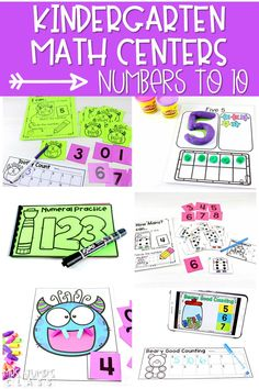 21 Kindergarten math centers to practice numbers to 10. Digital, black & white, and color options that match up to the Common Core Standards. #kindergartenmathcenters #numbersto10 #mathstations
