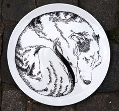 Serving Plate  Dog Sleeping by jimbobart on Etsy, $76.90