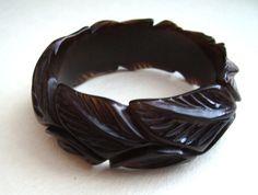 Vintage carved leaves bakelite  bangle by ThePlasticFever  on etsy.com