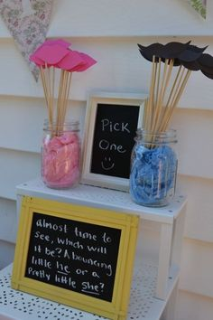 "gender reveal party idea; ""bouncing little he"" or ""pretty little she"" ---> boys bounce = active; girls = pretty"