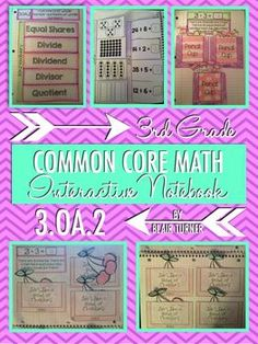 Interactive Notebook Activities - 3rd Grade Common Core Math {3.OA.2}....fun flapbooks and activities to reinforce division concepts! $