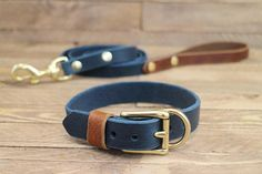 Dog collar, French bulldog recommended Combo dog collar and leash ,FREE ID TAG Handmade Dog Collars & Leashes, Leather Dog Collars, Newfoundland Puppies, Puppy Care, Dog Care, Hiking Dogs, Handmade Dog Collars, Collar And Leash, Dog Accessories