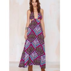 Nasty Gal After Party Vintage Indus Paisley Dress