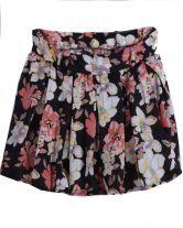 Black Floral Pleated Chiffon Skirt $27.42