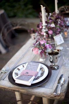 vintage brown place setting on wooden table