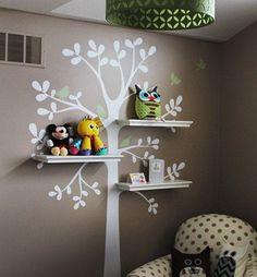"""This is a tree decal that is created to work with standard 24"""" wall shelves that you can find at your local Target, Walmart, Ikea etc.. (shelving is NOT INCLUDED) There are three locations where you c"""