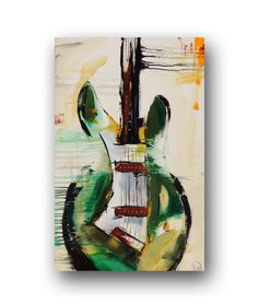 Guitar Painting Green Abstract Painting by heatherdaypaintings, $330.00