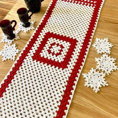 Lion Brand® Yarn has what you need to start getting your table ready for the holiday season! The Holiday Table Runner & Snowflake Coaster Set (Crochet Kit) By Simple Things Crochet (Tia Edwards) is made with Lion Brand® Yarn's 24/7 Cotton® Yarn [Sponsored by @lionbrandyarn] Crochet Santa Hat, Christmas Crochet Patterns, Lion Brand Yarn, Holiday Tables, Christmas Countdown, Simple Things, Handmade Decorations, Coaster Set, Table Runners