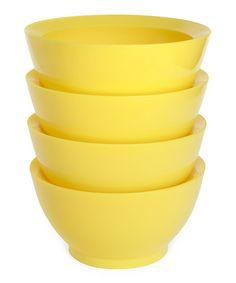 Yellow 20-Oz. No-Spill Smart Lip Bowl - Set of Four