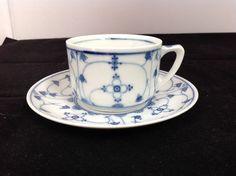 Antique Porzellanfabrik Moschendorf Blue Denmark Cup Saucer PM Bavaria 1895-1910 #BlueDenmark #PM