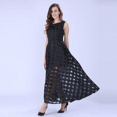 2017 Maxi Summer Plaid Women Dress New Long Organza day Dress Vestidos De Festa Satin Fashion style black women dresses -03d27