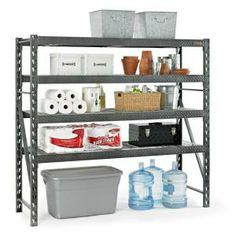 4-shelf 77 In. W X 73 In. H X 24 In. D Steel Shelving Unit