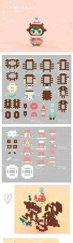 Hama Beads 3d, 3d Perler Bead, Hama Beads Design, Perler Bead Templates, Pearler Beads, Fuse Beads, Easy Pixel Art, Pixel Art Grid, 3d Figures