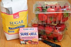 Step by Step instructions and Pictures for Sure-Jell Less Sugar Strawberry Freezer Jam. I promise you won