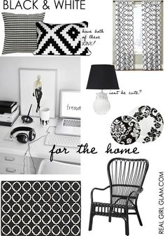 I love the pillows in this black and white decor board