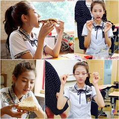 Child actress Kim Sae Ron has revealed image stills of herself eating on the set of the Korean drama, 'High School: Love On' which is aired on KBS' She is seen eating pizza and the famous Korean snack stick, Pepero while still in uniform for the set. Child Actresses, Korean Actresses, Actors & Actresses, Nam Woo Hyun, Hi School Love On, Best Kdrama, Korean Language Learning, Drama School, Sistar